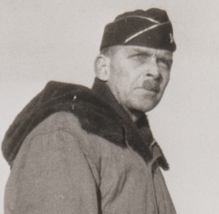 Lloyd E. Jones observes troops land at Amchitka Island during the Aleutians Campaign, shortly before assuming command of the 10th Light Division.