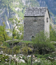 "So-called ""locked tower"" in Theth within the Albanian Alps in the north of Albania."