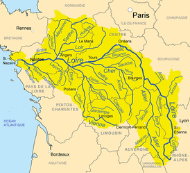 Map of the Loire basin showing the major tributaries