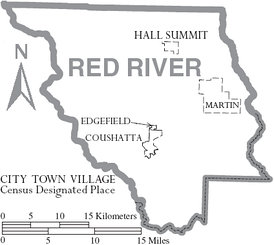 Map of Red River Parish, Louisiana With Municipal Labels