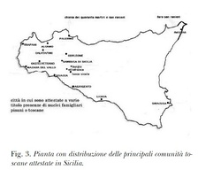 Map of Tuscan settlements in Sicily.