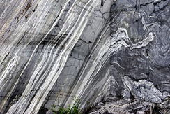 Marble wall of Ruskeala. Republic of Karelia, Russia