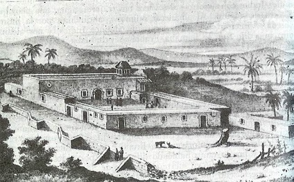 Misión de Nuestra Señora de Loreto Conchoó in the 18th century, the first permanent Jesuit mission in Baja California, established by Juan María de Salvatierra in 1697