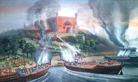 A painting indicating the battle between the Portuguese and the Mughals in Karnaphuli River in 1666.