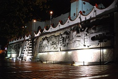 Mural depicting the history of Papantla in the town square by Teodoro Cano García