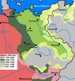 Stages of German eastern settlement, 700-1400