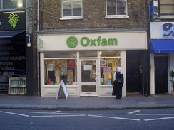 Oxfam shop on Drury Lane in Covent Garden, London
