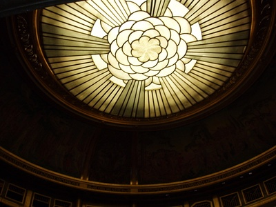 Dome of the Theater, with Art-Deco rose design by Maurice Denis