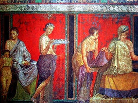 Women from the wall painting at the Villa of the Mysteries, Pompeii