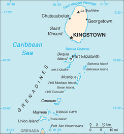 A map of  Saint Vincent and the Grenadines