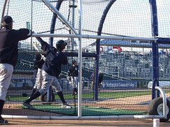 Members of the Scranton/Wilkes-Barre Yankees take batting practice before the Opening Day 2009 game versus the Lehigh Valley IronPigs at Coca-Cola Park in Allentown, Pennsylvania.
