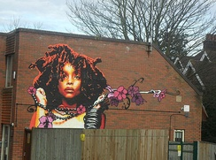 Badu in street art in Sutton, Greater London, England