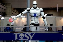 A Vietnamese-made TOPIO 3.0 humanoid ping-pong playing robot displayed during the 2009 International Robot Exhibition (IREX) in Tokyo.[269][270]