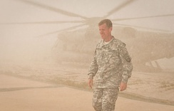 General McChrystal arrives at Combat Outpost Sharp in Garmsir District in April 2010