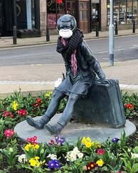 "The ""Wee Annie"" statue in Gourock, Scotland, was given a face mask during the pandemic."