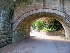 The three original bridges are evident from the change in height of the three arches seen here.
