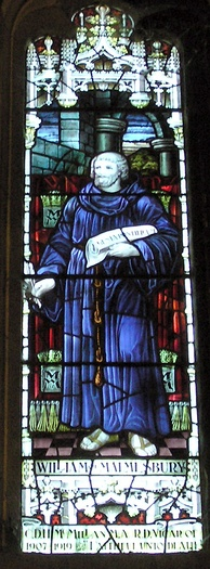 Stained glass window showing William, installed in Malmesbury Abbey in 1928 in memory of Rev. Canon C. D. H. McMillan, Vicar of Malmesbury from 1907 to 1919.