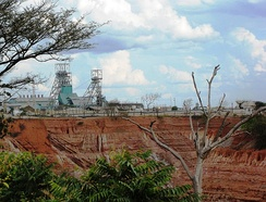 The major Nkana open copper mine, Kitwe.