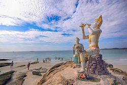 The statues of Phra Aphamani and the mermaid, characters from a famous Thai epic poem, on Ko Samet