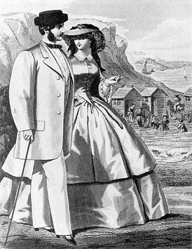 1859 fashion plate of both men's and women's daywear, with seabathing in background. He wears the new leisure fashion, the sack coat.