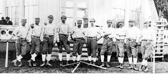 1870 Chicago White Stockings (later Cubs): (l-r) Ned Cuthbert, Fred Treacey, Charlie Hodes, Levi Meyerle, Ed Pinkham, Jimmy Wood, Bub McAtee, Bill Craver, Marshall King, Clipper Flynn