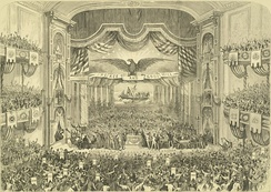 Interior of Ford's Grand Opera House of John T. Ford (1829-1894) on East Fayette Street between North Howard and Eutaw Streets in Baltimore during the 1872 Democratic National Convention. Built 1871, razed 1964.