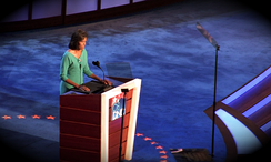 Michelle Obama speaking at the 2008 Democratic National Convention.