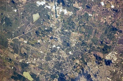 View from the International Space Station, with the photo centered on east Brownsville