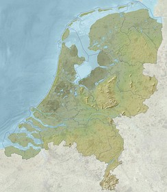 A relief map of the Netherlands