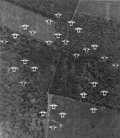 P-38 Lightnings from the 20th Fighter Group in formation over France, 29 June 1944