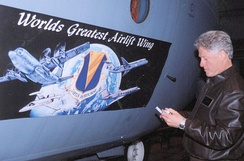 President Clinton signing the 86 AW Wing emblem.