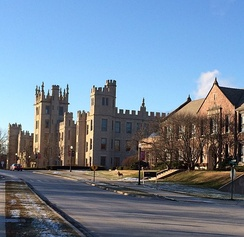 Altgeld Hall and Still Hall along College Avenue. Altgeld Hall was the first building to be constructed on campus.