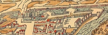 A depiction of the Bastille and neighbouring Paris in 1575, showing the new bastions, the new Porte Saint-Antoine, the Arsenal complex and the open countryside beyond the city defences