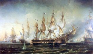 The Battle of Cape St. Vincent, between the Miguelite and the Liberal navies