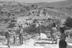 IDF forces near Bayt Nattif (near Hebron) after it was captured. Oct 1948.