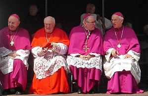 A cardinal (second from left) and bishops