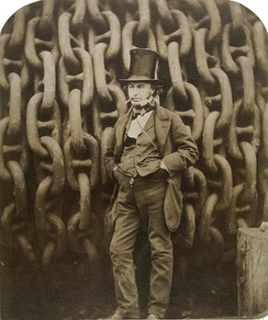 19th-century engineer Isambard Kingdom Brunel by the launching chains of the SS Great Eastern