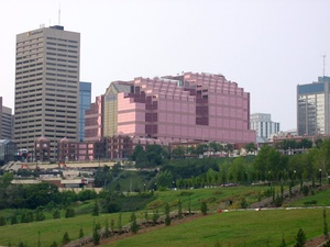 Canada Place Building, in Edmonton, Alberta, Canada (1988) a post-modernist style government office building.