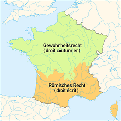 France during the Ancien Regime, split by areas where customary and Roman law were prominent.