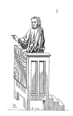 Preaching from a mediaeval pulpit