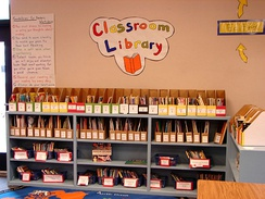 A classroom library in the US