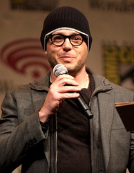 Writer Damon Lindelof promoting Prometheus at WonderCon in 2012. Lindelof was hired to rewrite Jon Spaihts's original script.