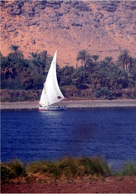 A felucca traversing the Nile near Aswan