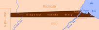 The disputed portion of Michigan Territory claimed by the state of Ohio known as the Toledo Strip.