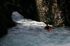 Kayaker in the gorge of East Fork Lewis River (Dragon's Back)