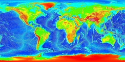 Current Earth – showing topography of the land and bathymetry of the oceans