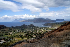 View from Vulcano, Lipari in the middle, Salina at the left, Panarea at the right