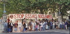 Demonstration against nuclear testing in Lyon, France, in the 1980s.