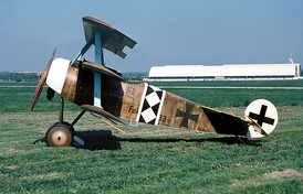 A flyable reproduction of the Fokker Dr.I of World War I, the best known triplane.