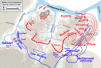 Confederate breakout attempt, morning February 15, 1862